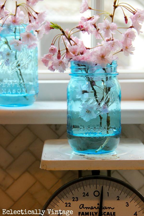 Mason Jar Window Treatment & New Blue Mason Jars Giveaway!