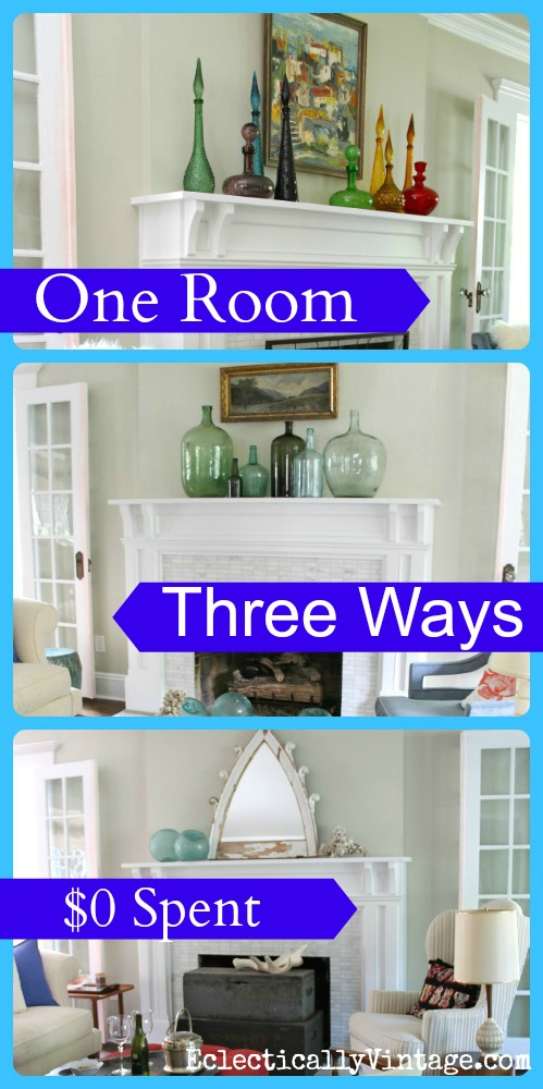 One Room, Three Ways - see this living room decorated in three completely different styles - and no money was spent!  kellyelko.com