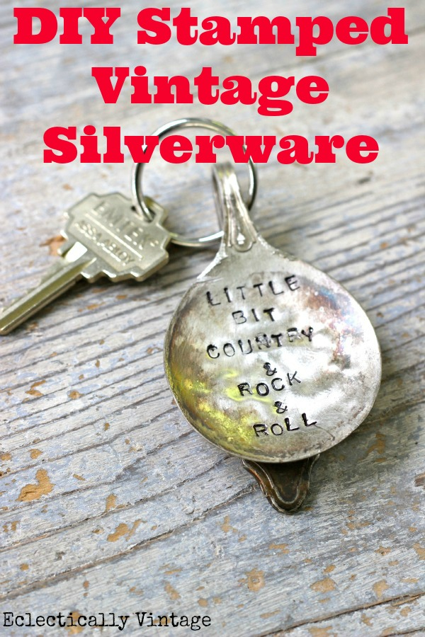 How to Stamp Silver - and a DIY Stamped Silver Spoon Keychain - these are so cute!  kellyelko.com