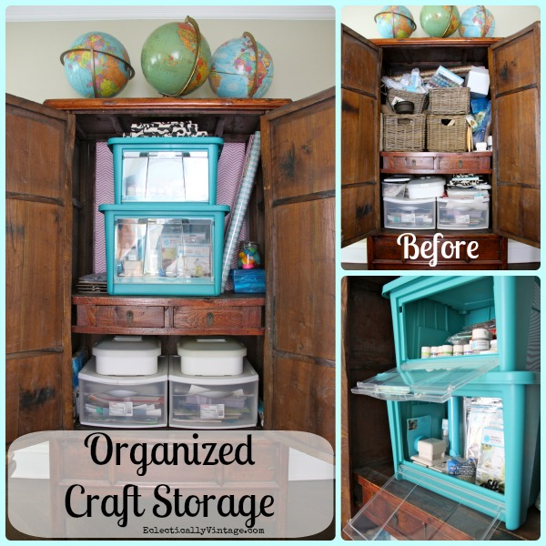 Craft Organizer - check out the genius way to organize your craft supplies so you can actually get to them when stacked!  kellyelko.com