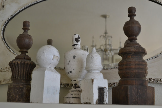 Vintage finial collection - one of the many finds in this cottage tour