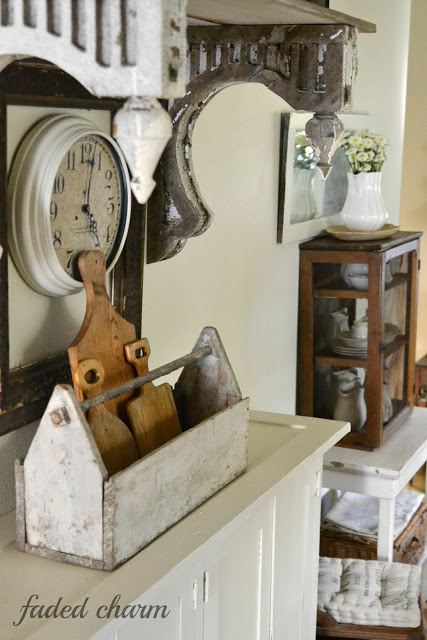 Cottage kitchen - love the cutting board collection