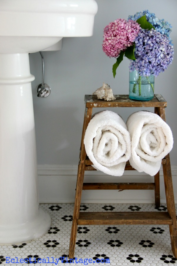bathroom storage ideas love this old ladder. Black Bedroom Furniture Sets. Home Design Ideas