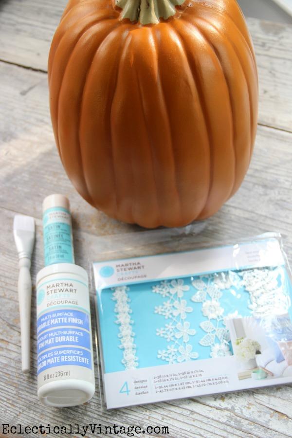 Lace Pumpkin Decoupage Supplies - you've got to see how cute this is!  #12monthsofmartha #marthastewartcrafts kellyelko.com