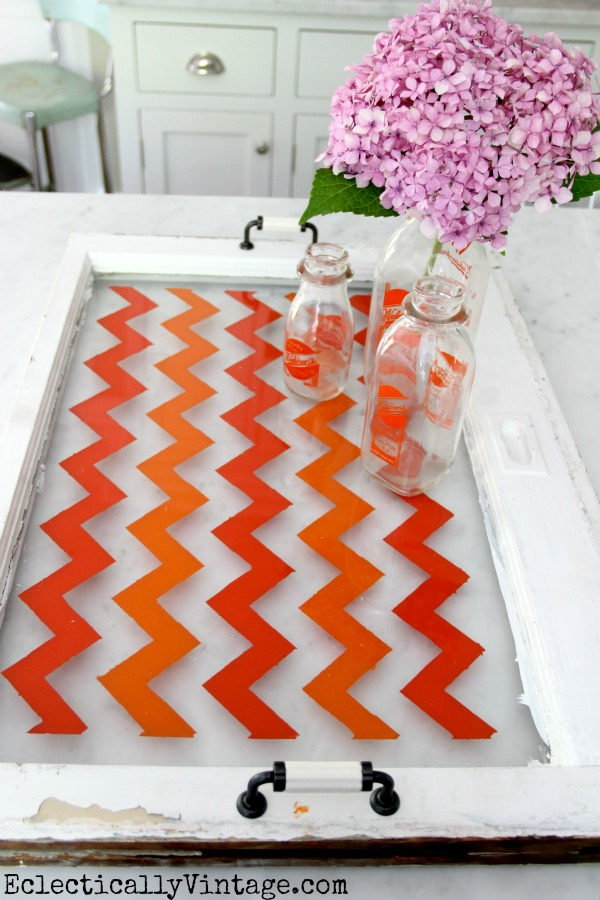Make a Chevron Tray Tutorial- with just tape and paint!  kellyelko.com