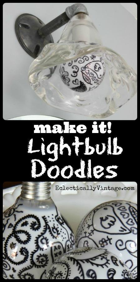 #Doodle Lightbulbs #Sharpie Crafts Tutorial - such graphic pop art for any light!  kellyelko.com