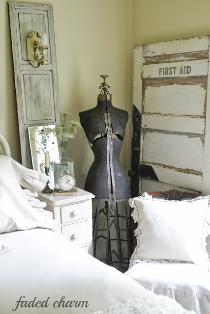 Beautiful bedroom details - part of this cottage tour