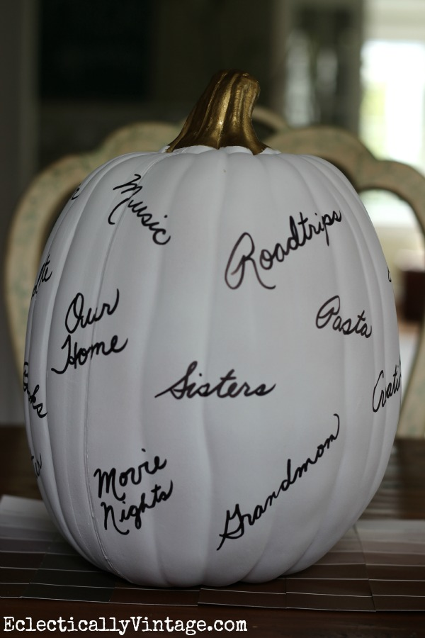 Make a Thanksgiving Thankful Pumpkin - start a new tradition the whole family will love!  kellyelko.com
