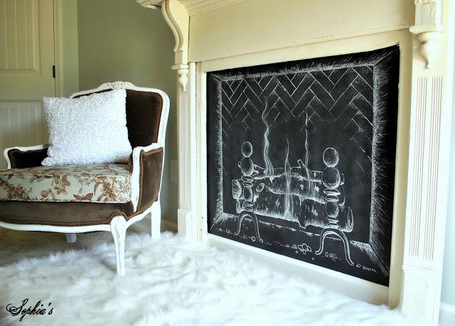 Chalkboard Fireplace - one of 12 unique chalkboard ideas kellyelko.com