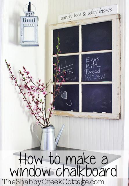 How to make a chalkboard window - one of 12 unique chalkboard ideas kellyelko.com