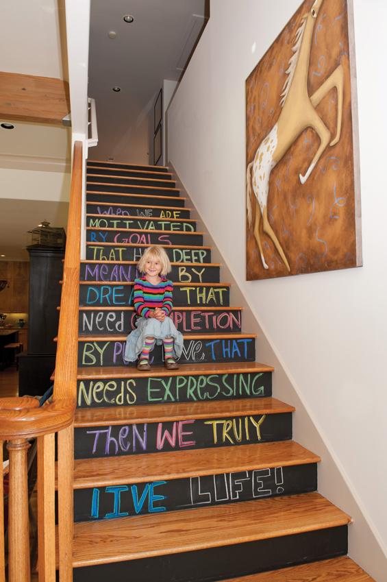 Chalkboard Stairs - one of 12 unique chalkboard ideas kellyelko.com