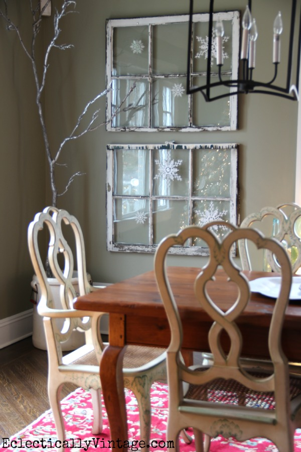 Creative Christmas Decorating Ideas - love these old windows with snowflake ornaments kellyelko.com
