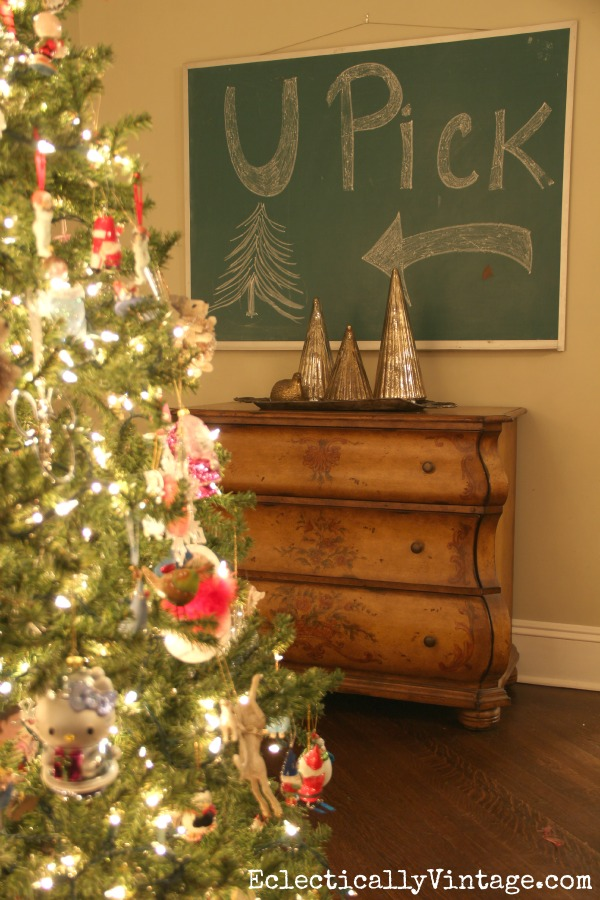 Vintage chalkboard at Christmas kellyelko.com