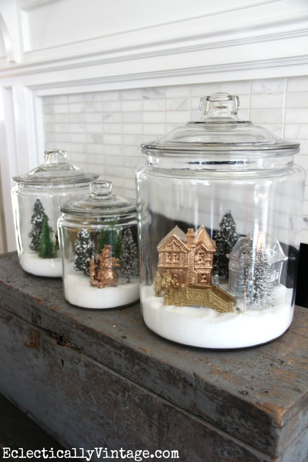 Make Snow Village Jars - my family loved making these! kellyelko.com