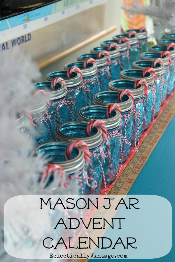 Fun Christmas Craft - Make a Mason Jar Advent Calendar! kellyelko.com #adventcalendar #christmascrafts #masonjarcrafts #masonjar #christmasdecor #farmhousechristmas #farmhousedecor