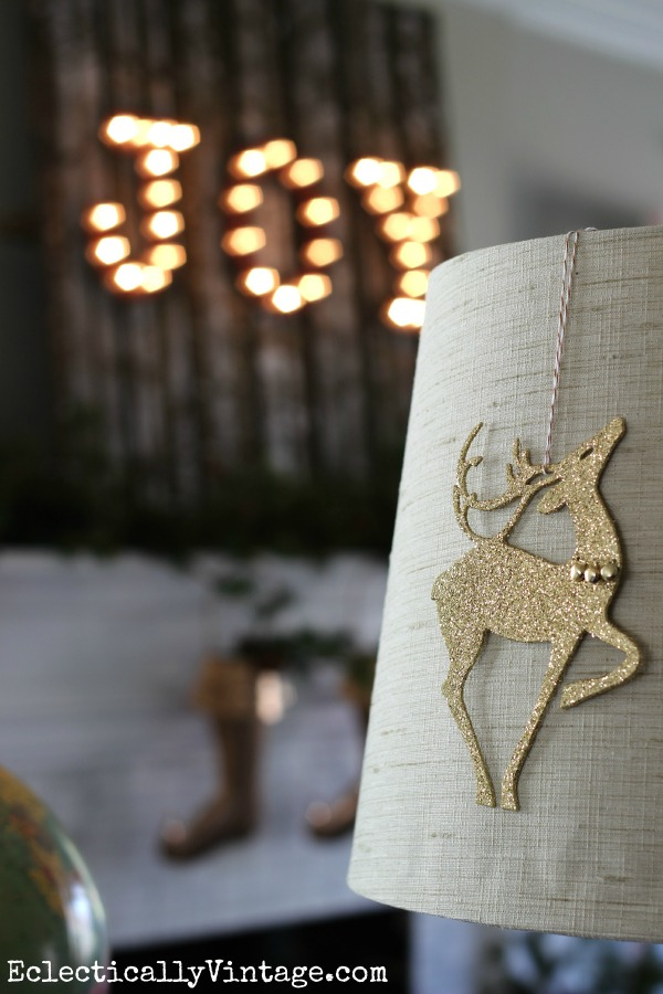Glittery reindeer ornament - fun lamp decoration kellyelko.com