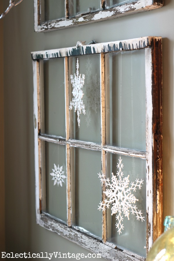 Antique windows decorated with snowflakes for Christmas kellyelko.com