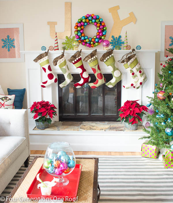 Colorful Joy Christmas Mantel