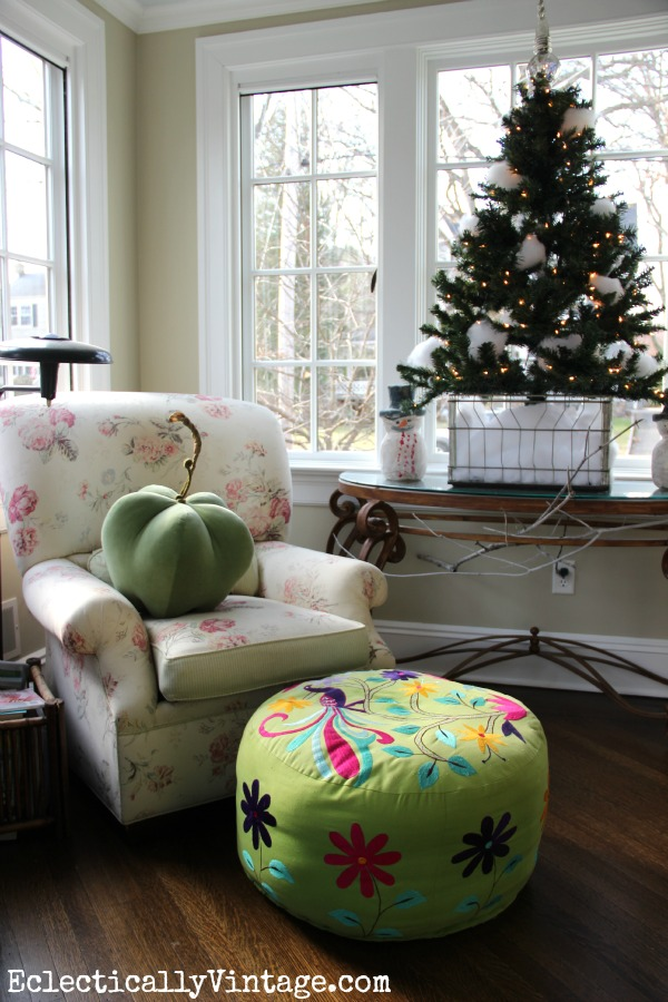 Christmas in the Sunroom - love the little snowball tree in the crate kellyelko.com