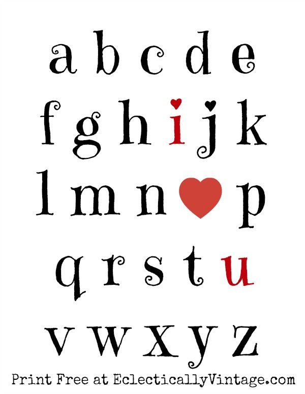 Free I Love You Valentine Printable kellyelko.com