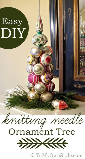 Knitting needle ornament Christmas tree