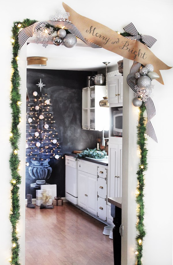 Christmas door garland - and love the chalkboard Christmas tree!
