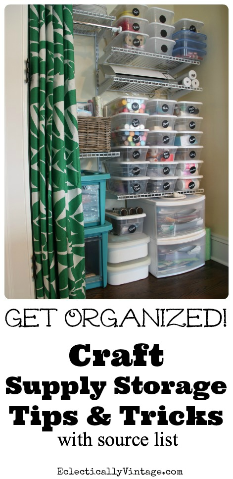 Craft Supply Storage Tips & Tricks to Finally Get Organized! Plus make your own chalkboard labels for pennies! kellyelko.com #organize #crafty #diyideas #organization #craftroom #homeoffice #organizingideas #craftrooms #craftclosets #storage #storageideas #kellyelko