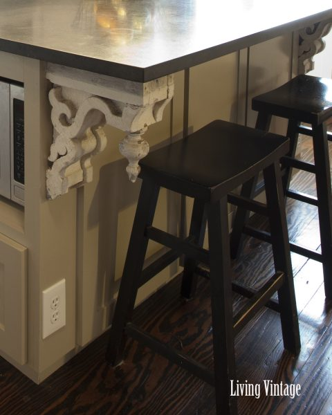 Old corbels on a kitchen island