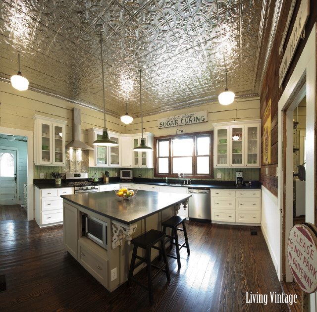 Metal ceiling tiles in the kitchen