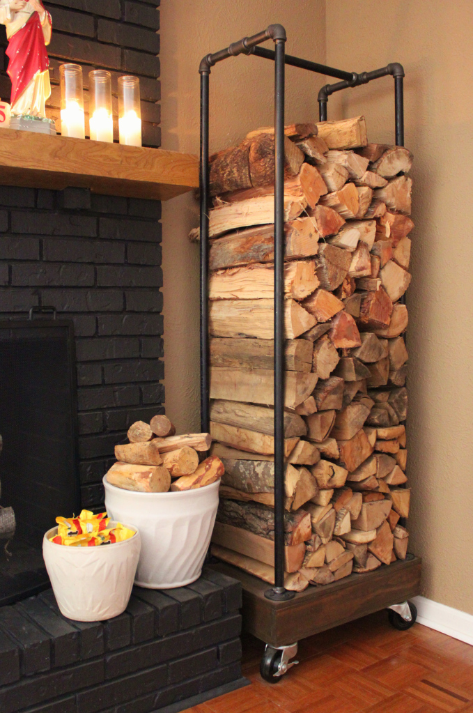 Make an industrial rolling rack - love it with the firewood! kellyelko.com