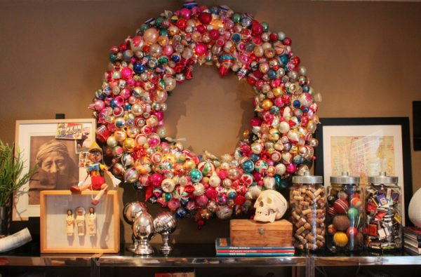 Giant vintage ornament wreath! kellyelko.com