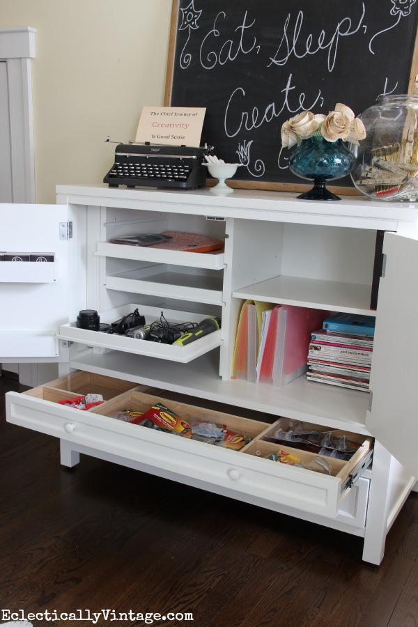 The perfect craft room furniture - so much storage! kellyelko.com