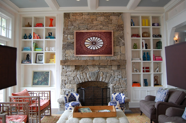Stone Fireplace Is Stunning In This Mountain Home Kellyelko Com