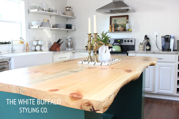 Eclectic home tour the white buffalo styling co for Live edge wood countertops