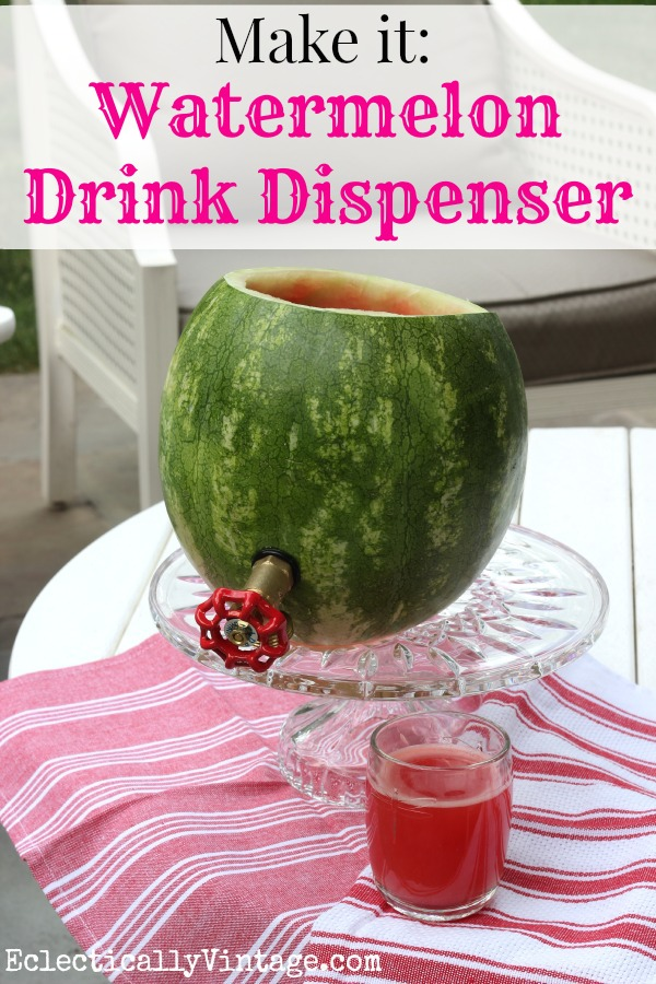 Make a watermelon drink dispenser and be the hit of your barbecue! Great recipe included kellyelko.com #summer #bbq #barbecue #recipes #cocktails #cocktailparty #summerrecipes #recipes #cocktailrecipe #watermelon