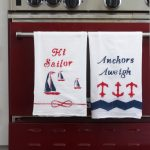 How to Paint Fabric & DIY Nautical Dishtowels