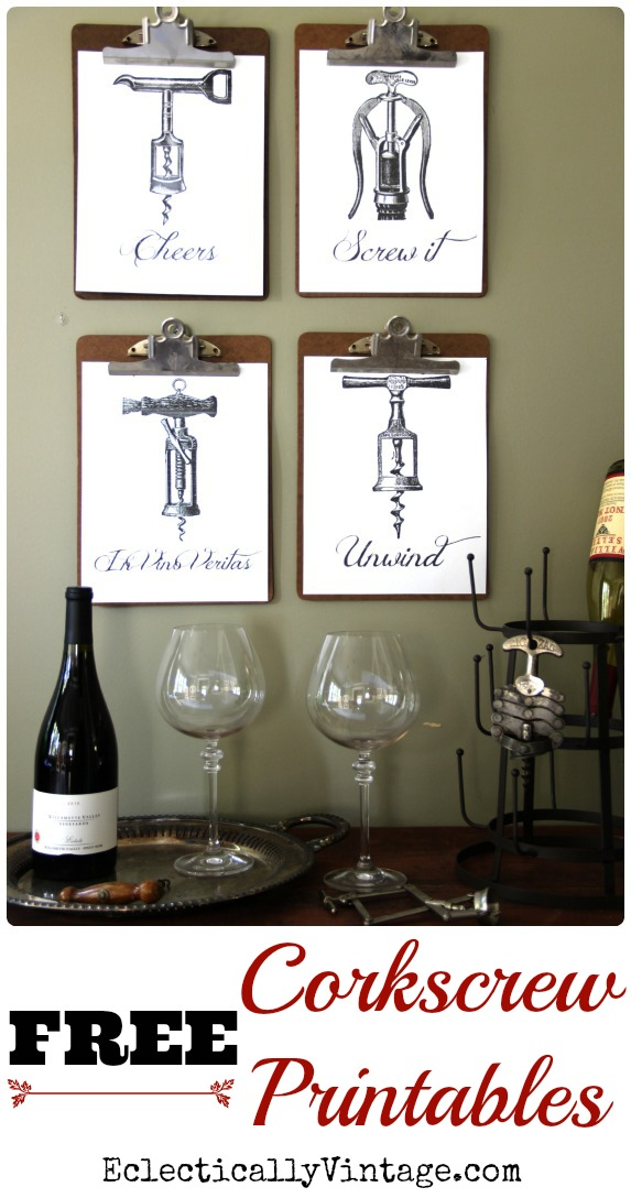 FREE Corkscrew Wine Printables - these would be cute hostess gifts - just frame and give with a bottle of wine! kellyelko.com