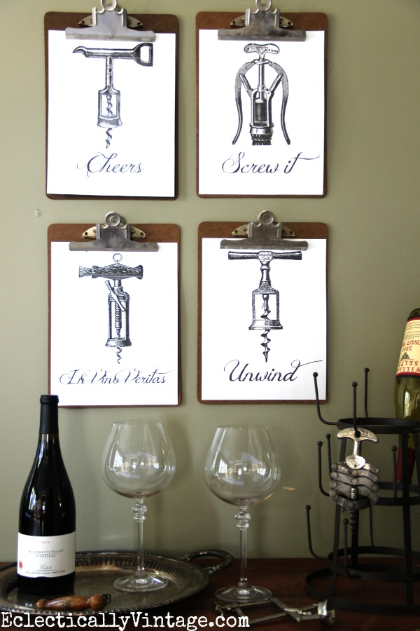 Four FREE Wine Printables - these are so much fun!  Just download and print kellyelko.com