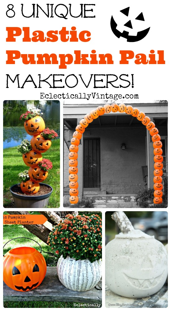 8 Unique Plastic Pumpkin Decorations - turn those pumpkin pails into fun fall and Halloween decorations! kellyelko.com #fall #halloween #plasticpumpkins #pumpkins #halloweendecor #halloweencrafts #fallcrafts #pumpkins #pumpkindecor #upcycle #fallcrafts