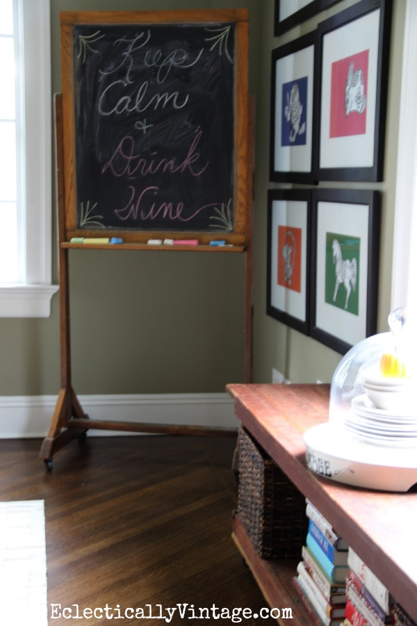 Antique chalkboard Keep Calm and Drink Wine! kellyelko.com #EclecticallyFall