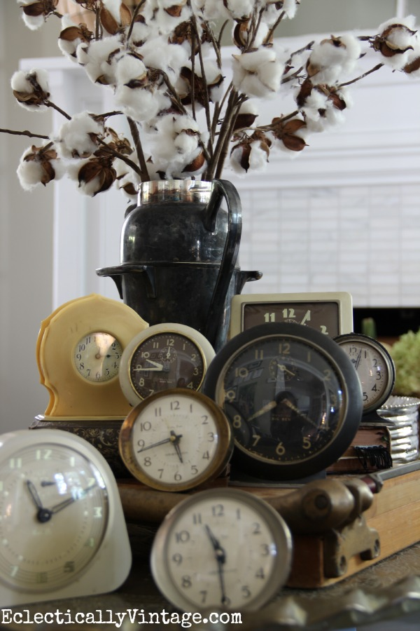 Vintage clocks - she has the best collections! kellyelko.com