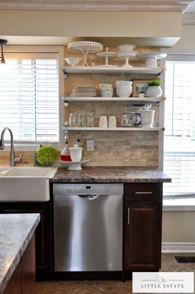 I love open shelves in a kitchen - beautifully styled too kellyelko.com