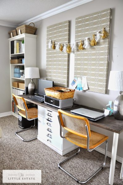 Love this organized office space and those cool vintage chairs kellyelko.com