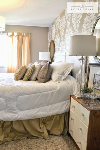 Beautiful neutral bedroom - love the stenciled wall kellyelko.com