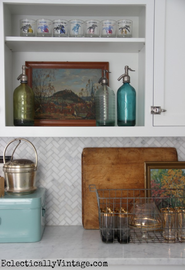 Love all these vintage finds - the landscape, vintage glasses and old seltzer bottles kellyelko.com #EclecticallyFall