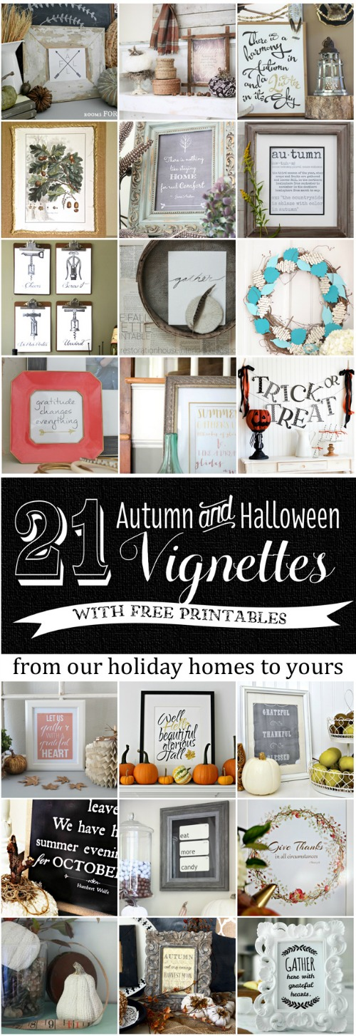 21 Fall FREE Printables - see how to decorate a cute vignette around each printable! #FreePrintablesForFall kellyelko.com