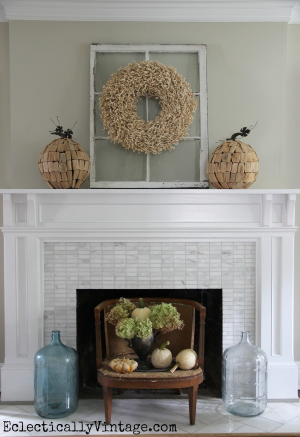 Creative Ideas to Decorate a Fireplace Opening kellyelko.com #fireplace #mantels #fireplacedecor #manteldecor #interiordecor #decorate #farmhousedecor #falldecor #fallmantel