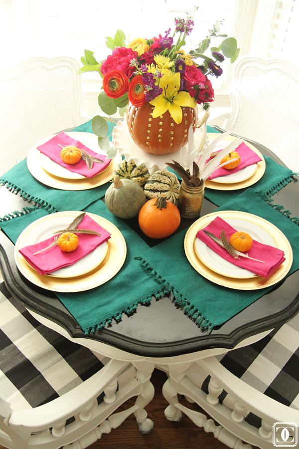 Festive fall table - love the pumpkin vase kellyelko.com