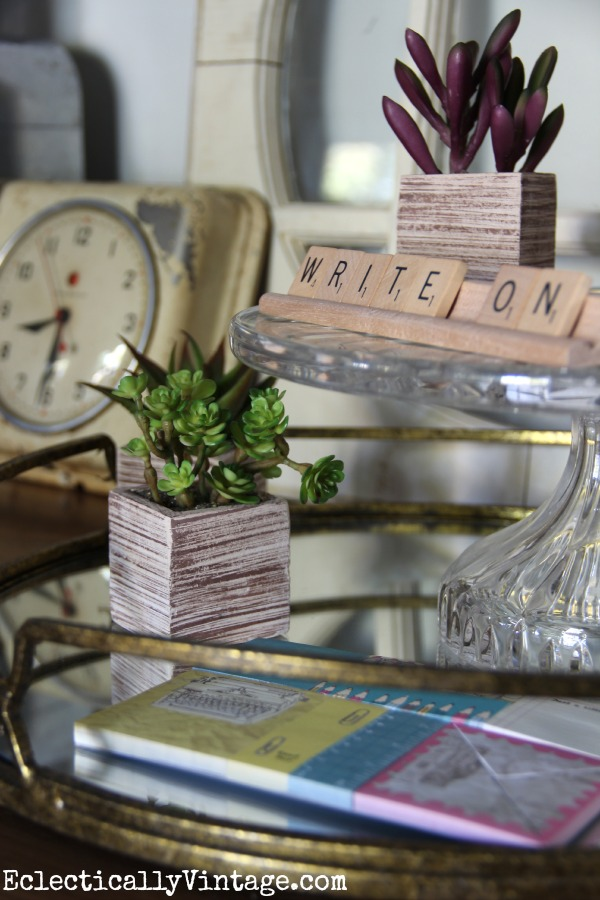 Cute little faux succulents kellyelko.com #EclecticallyFall