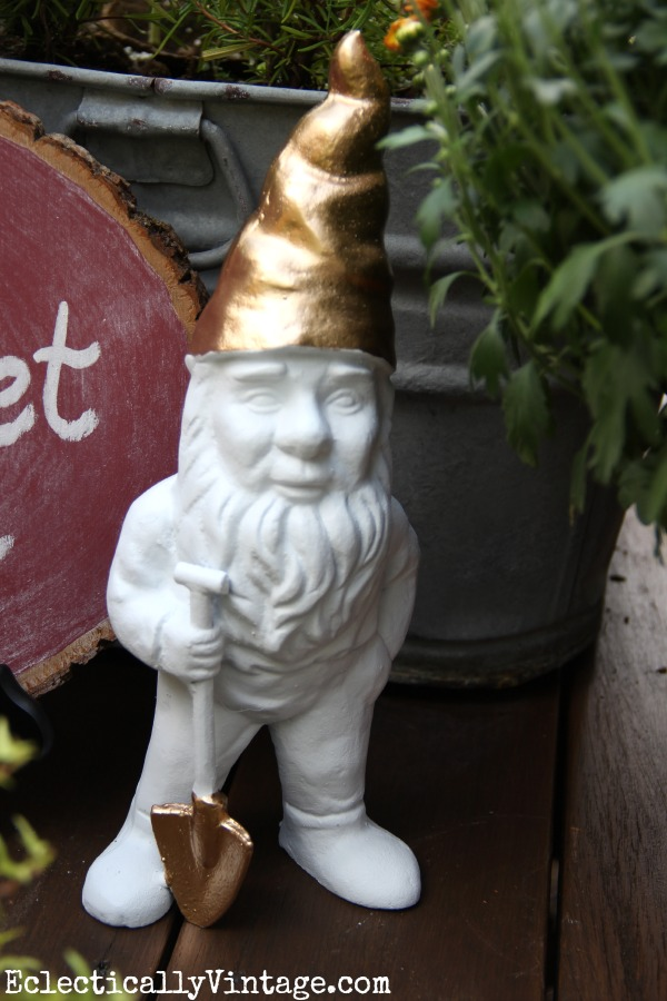 Make a gilded gnome - this is so cute! kellyelko.com